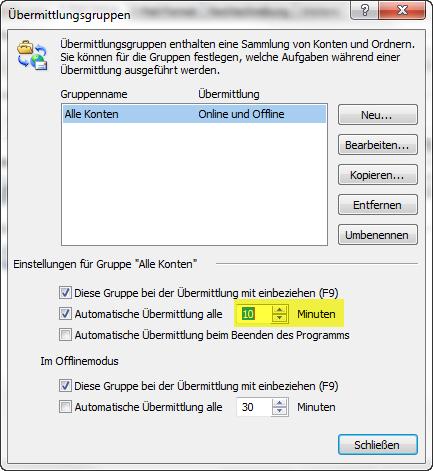 Screen Outlook Mailabruf in Zeit für das Abrufen von EMails in Outlook einstellen